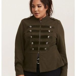 Torrid Green Embellished Zip Front Military Jacket